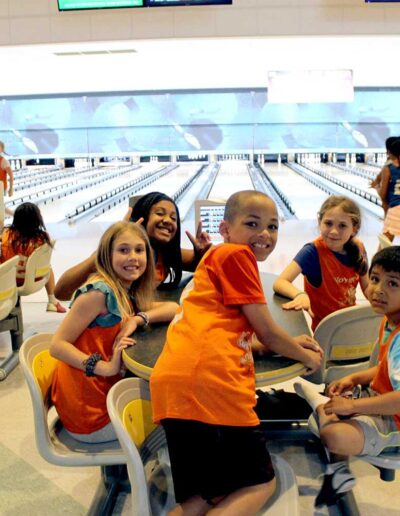 Group of kids bowling