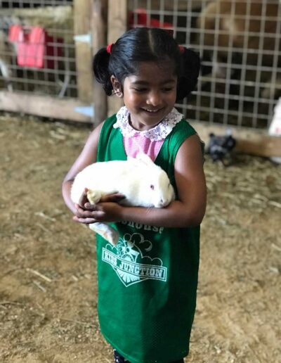 Girl holding a bunny on a farm